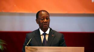 Alassane Ouattara, le 12 avril 2018 à Yamoussoukro.