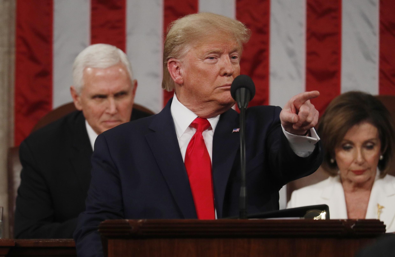 Tổng thống Mỹ Donald Trump trong diễn văn trước Quốc Hội, Washington DC, ngày 04/02/2020.