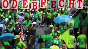 Marcha Verde contra la corrupción y el caso Odebrecht en Azua, República Dominicana, el pasado 21 de mayo de 2017.