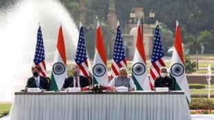 Bộ trưởng Quốc Phòng Ấn Độ Rajnath Singh phát biểu trong cuộc họp báo chung của các bộ trưởng Quốc Phòng và Ngoại Giao hai nước Hoa Kỳ và Ấn Độ tại New Dehli, ngày 27/10/2020.