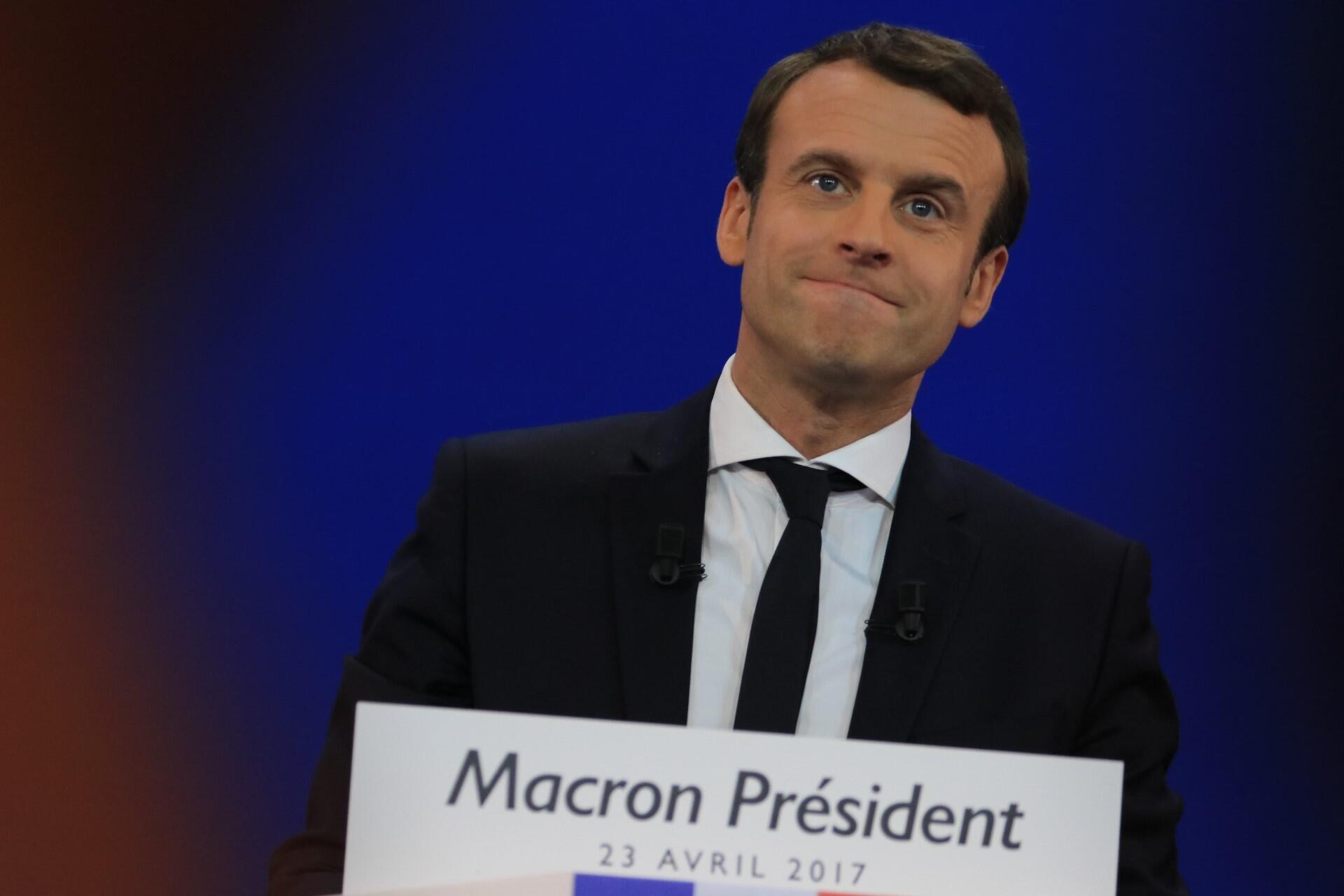 Emmanuel Macron, le candidat d'En marche !, devant ses partisans à Paris au soir du premier tour de la présidentielle, le 23 avril 2017.