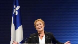 Pauline Marois durante su discurso después de su victoria en Montreal, Quebec.