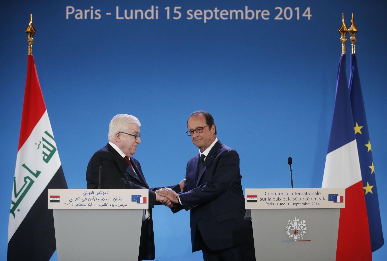 Le président irakien, Fouad Massoum et son homologue français François Hollande à l'ouverture de la conférence de paix à Paris, le 15 septembre 2014.