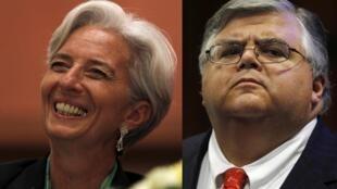 Christine Lagarde e Agustín Carstens, os dois candidatos finalistas para ocupar o cargo de diretor-gerente do FMI.