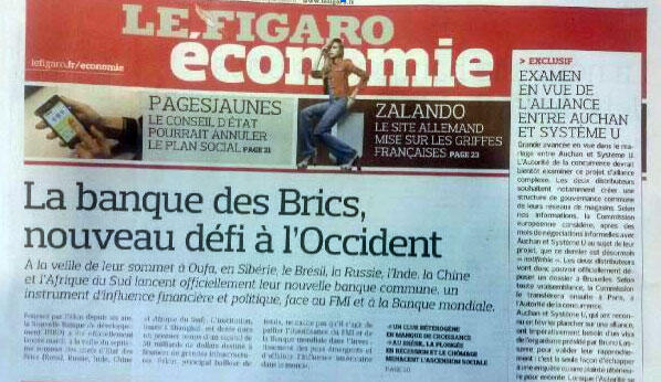 """Jornal Le Figaro destaca a criação do Novo Banco de Desenvolvimento (NBD) do Brics como sendo """"novo desafio para o Ocidente""""."""