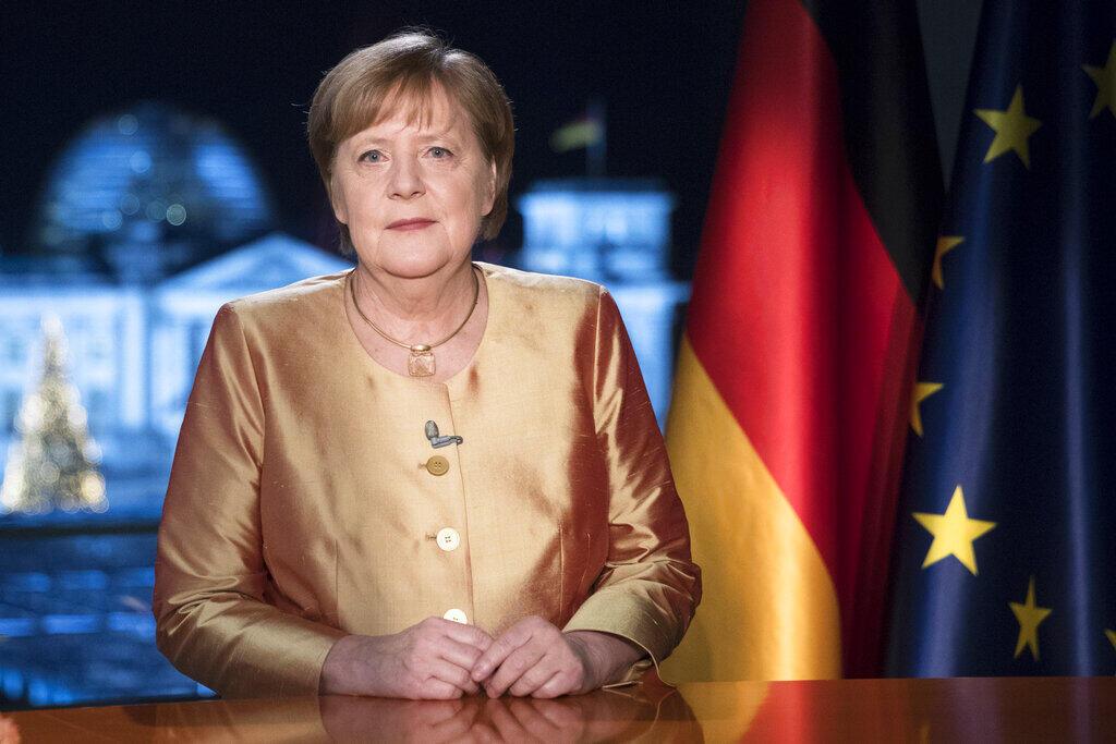 Angela Merkel lors de l'enregistrement de ses derniers vœux du Nouvel An, le 30 décembre 2020 à Berlin.