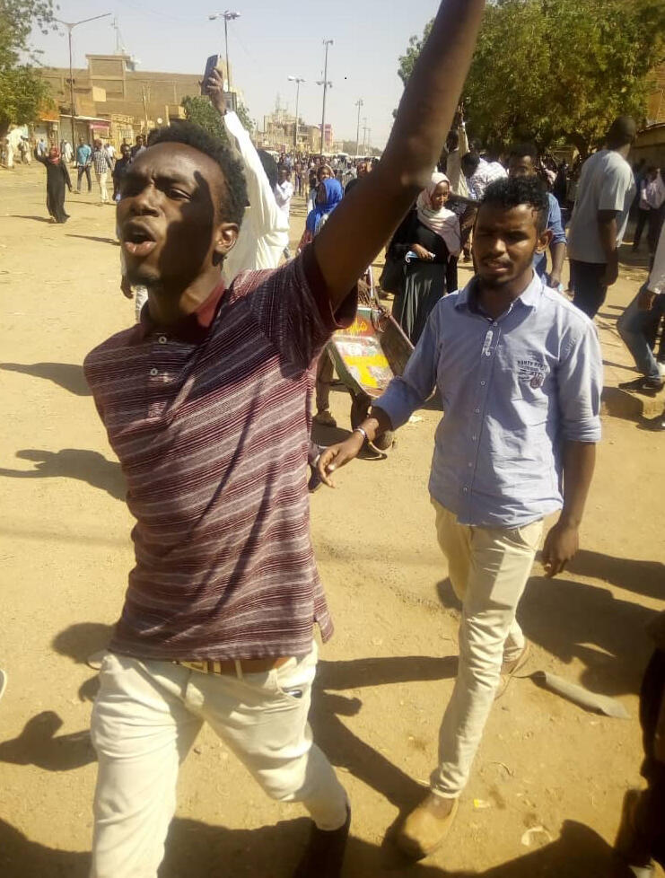 Anti-government demonstrators in the Sudanese capital Khartoum on 13 January 2019.