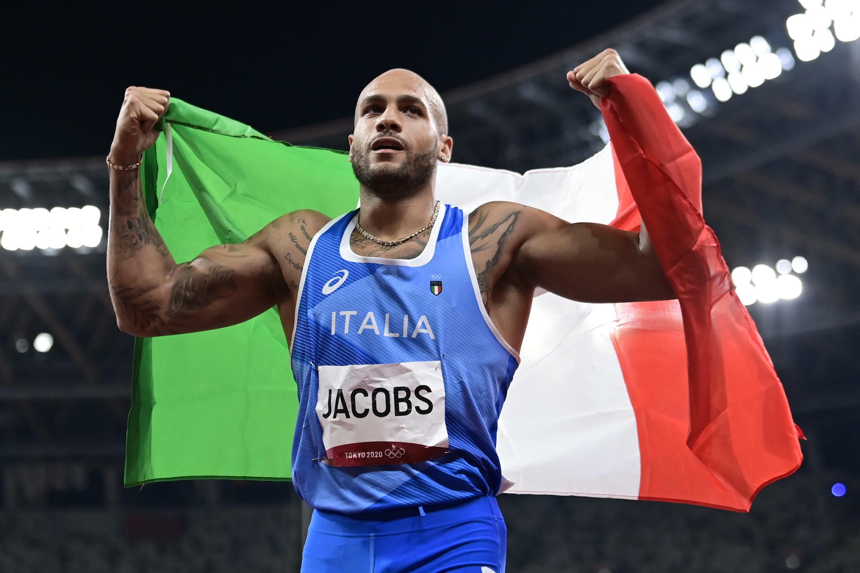 L'Italien Lamont Marcell Jacobs, champion olympique du 100 m, le 1er août 2021 aux Jeux Olympiques de Tokyo 2020