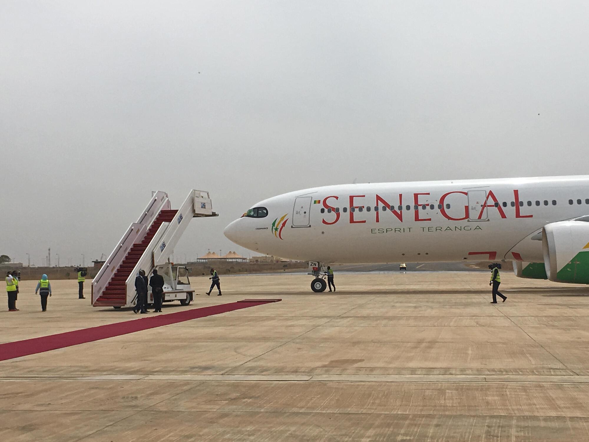 Un A330 NEO d'Air Sénégal en phase de test à l'aéroport international Blaise Diagne de Dakar, jeudi 31 janvier.