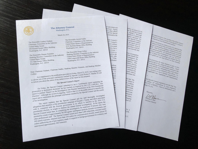 Les quatre pages de synthèse issues du rapport Mueller et communiquées par le ministre de la Justice William Barr au Congrès, le 24 mars 2019.