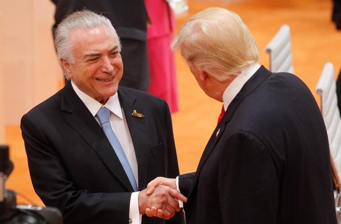 O presidente brasileiro, Michel Temer, e o americano, Donald Trump, durante cúpula do G20, em julho, na Alemanha.