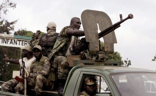 Ivorian troops in front of  Akouédo military base, in Abijdan, Cote d'Ivoire.