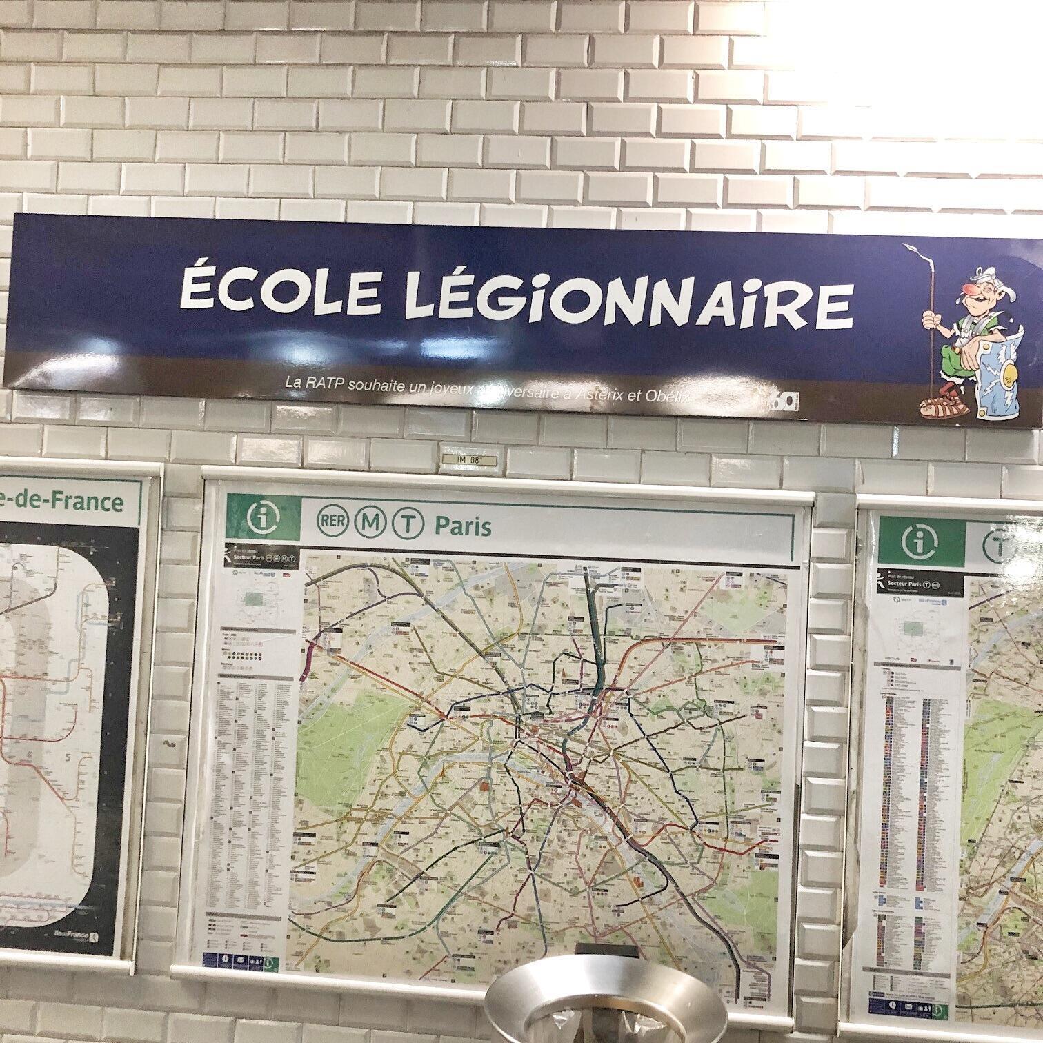La estación Ecole Militaire se llama este miércoles 'Ecole Légionnaire'.
