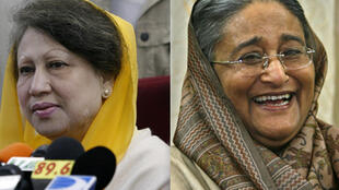 Long-time rivals Khaleda Zia (L) and Sheikh Hasina