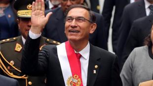 Le président péruvien Martin Vizcarra lors des célébrations de l'anniversaire de l'indépendance du Pérou, à Lima le 28 juillet 2018. 想要反貪的秘魯總統馬丁·比斯卡拉 2018年7月28日