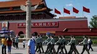 Công an nhân dân vũ trang diễn tập tại Thiên An Môn ngày 19/05/2020, trước thời điểm họp Quốc hội Trung Quốc.