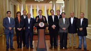 El presidente de Colombia, Juan Manuel Santos, durante una alocución al país, el 2 de octubre de 2016 en Bogotá.