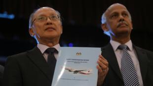 Lãnh đạo Ủy Ban Điều Tra, Kok Soo Chon, công bố kết quả điều tra vụ chuyến bay MH370 mất tích ngày 30/07/2018, tại Kuala Lumpur, Malaysia..