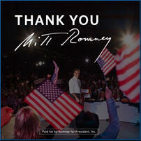 A thank you note posted on Mitt Romney's official Facebook page