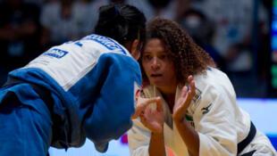 A judoca brasileira Rafaela Silva que ficou com o bronze no Grand Slam de Tóquio.