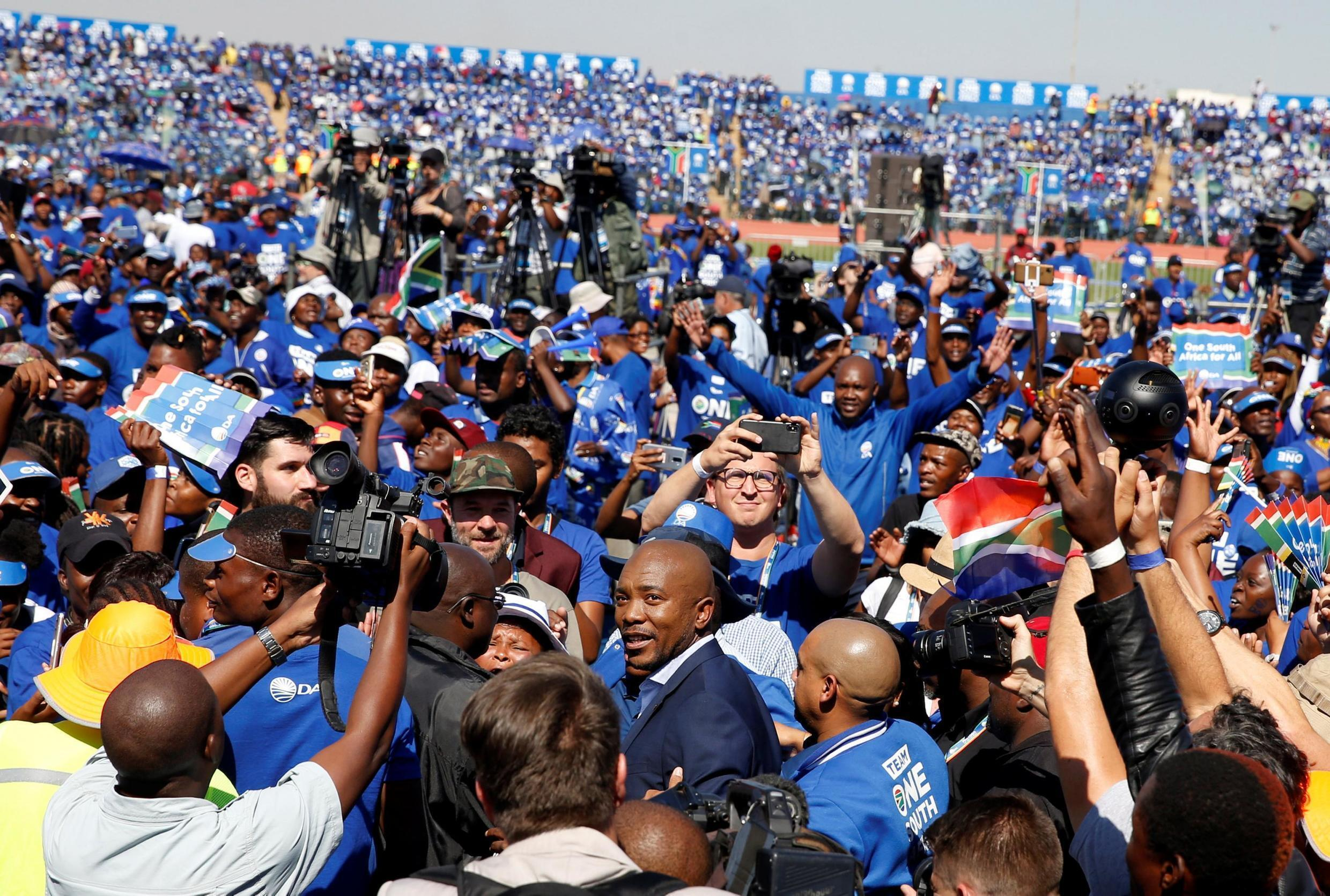 Mmusi Maimane, surrounded by supporters, at a Democratic Alliance rally in Soweto, Johannesburg, 4 May 2019.
