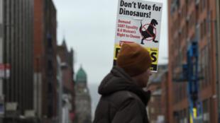 «Ne votez pas pour les dinosaures» peut-on lire sur un panneau affiché dans une rue de Belfast, en Irlande.