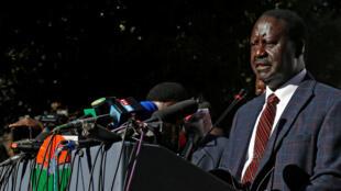 Raila Odinga, candidat battu à la présidentielle au Kenya, lors de sa conférence de presse à Nairobi, mercredi 16 août.