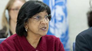Navi Pillay, Alta Comisionada de las Naciones Unidas para los Derechos Humanos, de visita en Colombia entre el 16 y el 19 de julio de 2013, atendiendo una invitación del gobierno.
