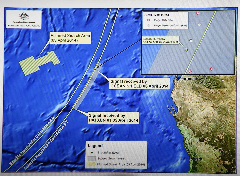 A área de buscas do MH370 no sul do Oceano Índico.