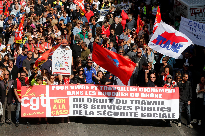 Манифестация  против реформы Трудового кодекса в Марселе 12 сентября 2017.