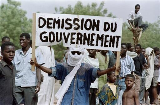 Bamako. 24 mars 1991. L'opposition a appelé à la grève générale.