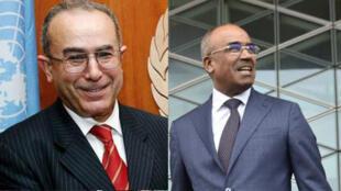 Les nouvelles autorités algériennes Ramtane Lamamra (G) vice-Premier ministre et Noureddine Bedoui (D), Premier ministre.