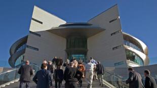 Sede mundial do Banco Santander, em Madri; o banco espanhol está na mira de um rebaixamento da Moody's..