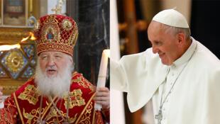 O Papa François e o Patriarca Kirill (à esquerda) encontram-se no Aeroporto cubano da Havana.