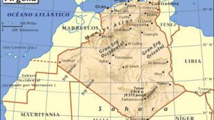 Mapa de Argelia.