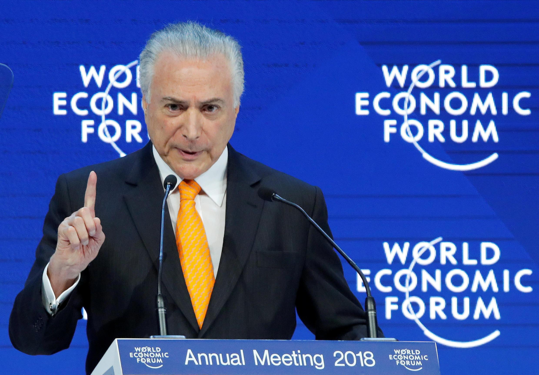 O presidene do Brasil Michel Temer durante seu discurso no Fórum Econômico Mundial de Davos