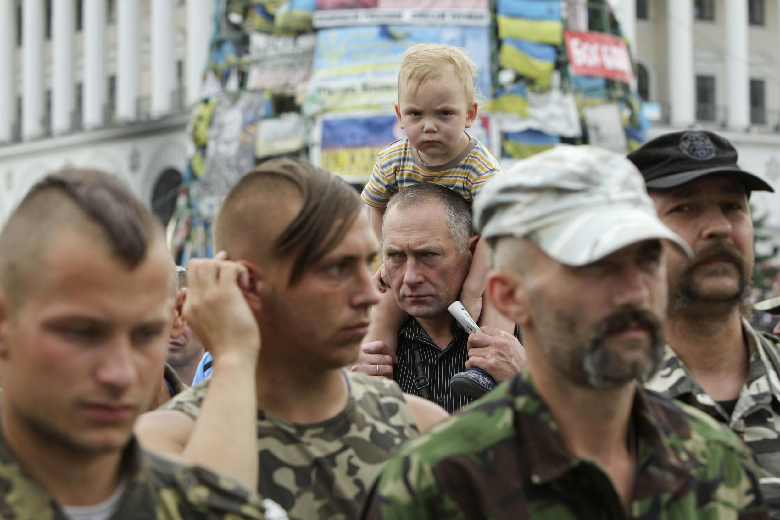 A self-defence group on Kiev's Maidan Square in June 2014