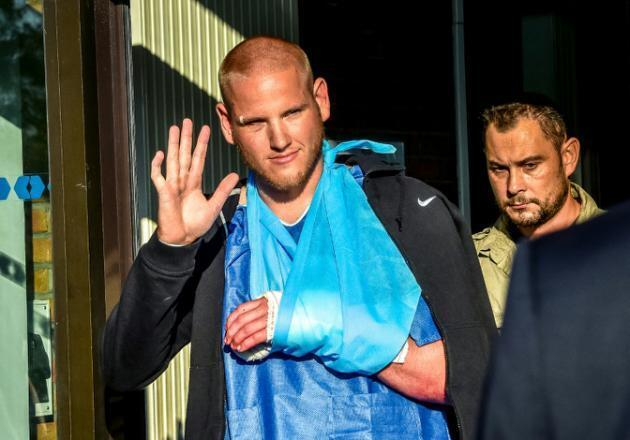 Spencer Stone, one of the Americans who disarmed a gunman on a train between Amsterdam and Paris