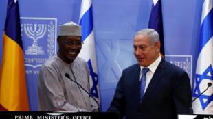 Conférence de presse commune entre Idriss Déby et Benyamin Netanyahu le 25 novembre à Jérusalem.