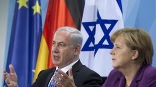 Firaministan Isra'ila, Bnejamin Netanyahu (hagu) da Shugabar kasar Jamus, Angela Merkel (dama)