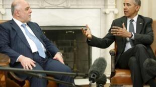 O primeiro-ministro do Iraque, Haider al-Abadi (à esq.) durante encontro com o presidente Barack Obama, na Casa Branca, em 14 de abril de 2015.