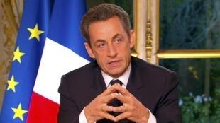 Nicolas Sarkozy, le président français, lors de son intervention télévisée, le 27 octobre 2011.