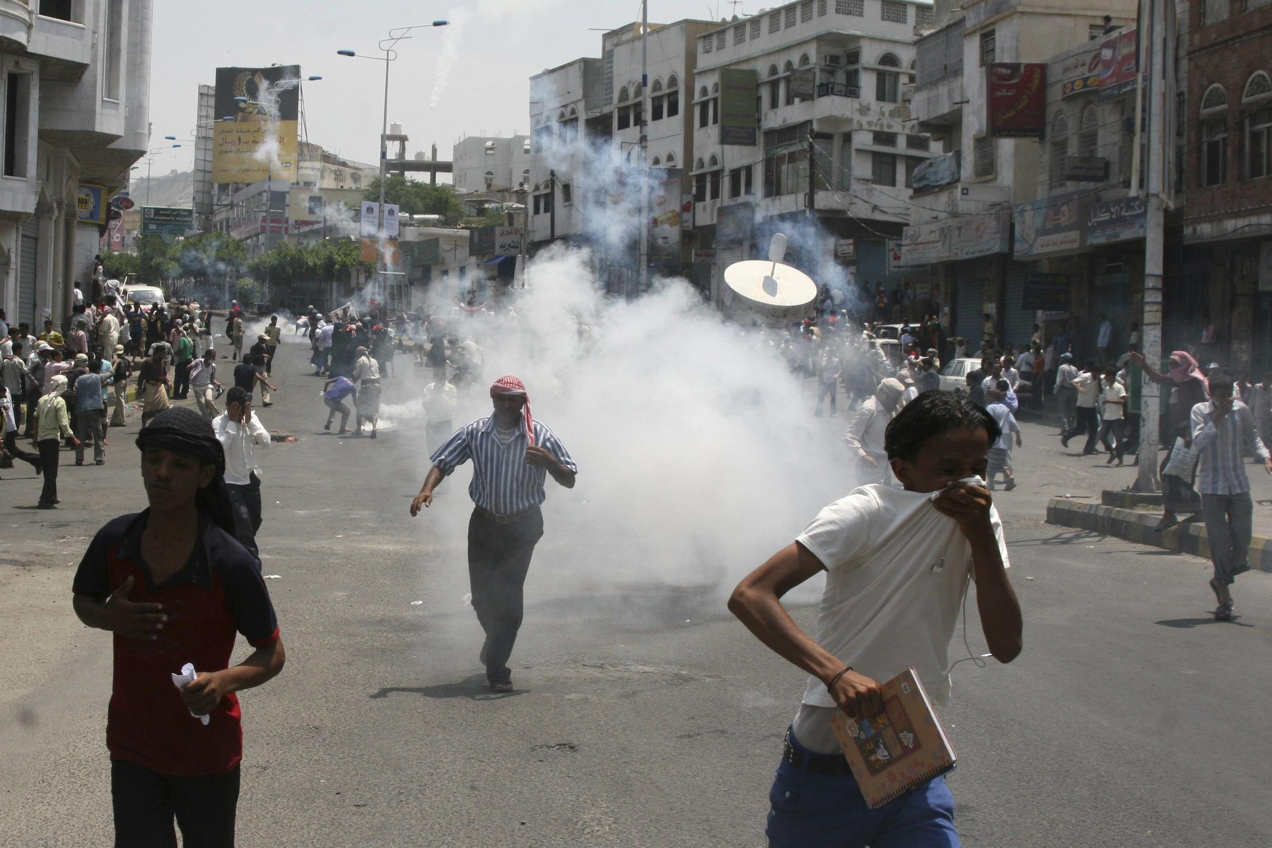 Anti-government protesters demanding the ouster of Yemen's President Ali Abdullah Saleh in the Southern city of Taiz