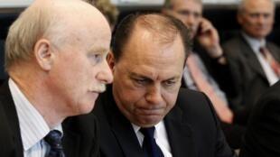 President of Germany's Bundesbank Axel Weber and Bafin head Jochen Sanio in Berlin