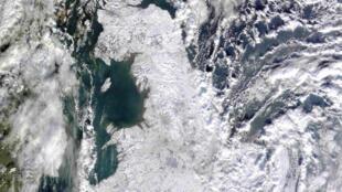 Image satellite d'une vague de froid touchant l'Europe