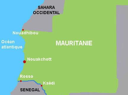 Carte de la Mauritanie.