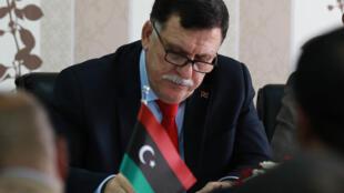Le Premier ministre libyen Fayed el-Sarraj, le 3 avril 2016 à Tripoli.