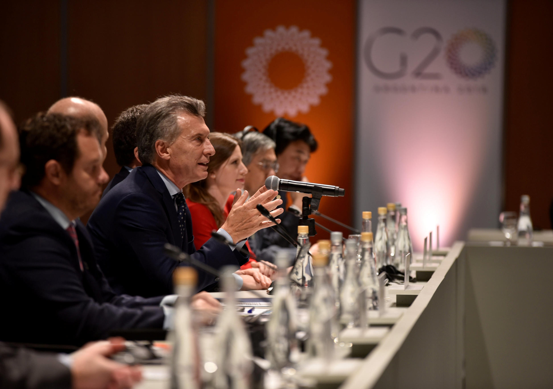 Rais wa Argentina Mauricio Macri akizungumza wakati wa mkutano wa mawaziri wa fedha kutoka nchi za G20. 20 Machi 2018.