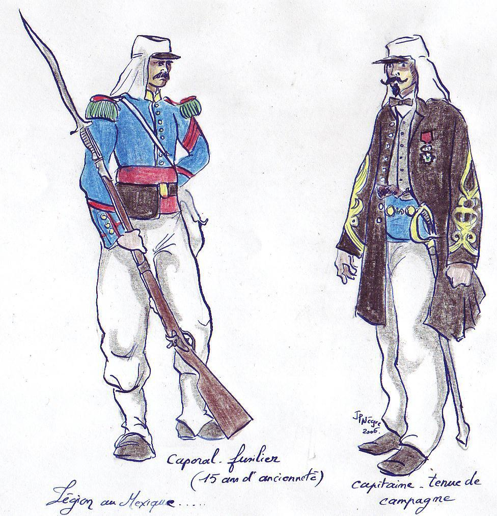 A drawing of legionnaires in France in 1863, inspired by uniforms in museum of L'Empéri, south of France