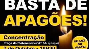 Cartaz da manifestação contra os cortes de energia na Cidade da Praia